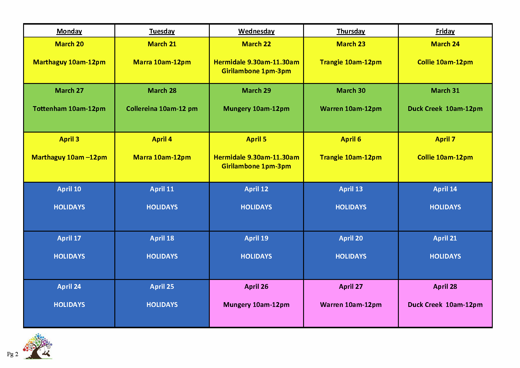 Timetable Term 4 2016 Page 2